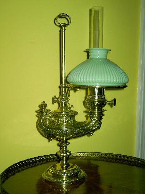 RARE - Plume & Atwood Kerosene Lamp - Square Tin Font - Center Draft Burner  -