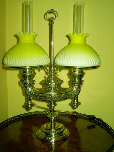 Content this lamp is the prize of any student lamp collection it is a wild wessel double harvard student lamp shown with period satin glass yellow fancy shades aloadofball Gallery